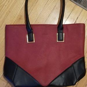 Cipriana Dark Red & Black Bag W/ Gold Hardware
